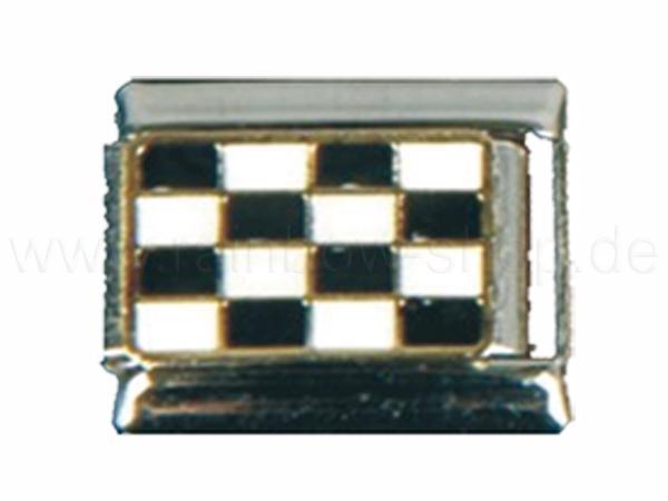 N-127 Italian Charm mit Motiv Schachbrett Silber Gold Schwarz Weiss