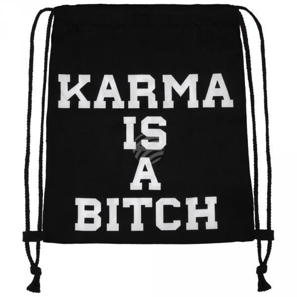 RU-x218 Gymbag Gymsac Design: Karma is a bitch Farbe: schwarz weiss