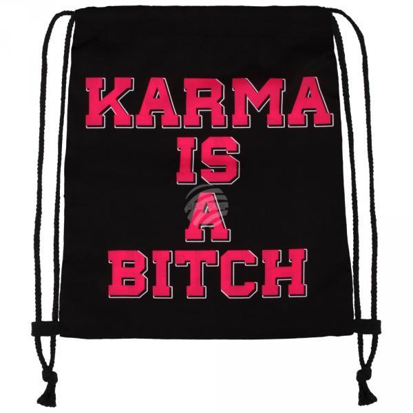 RU-x218a Gymbag Gymsac Design: Karma is a bitch Farbe: schwarz rot