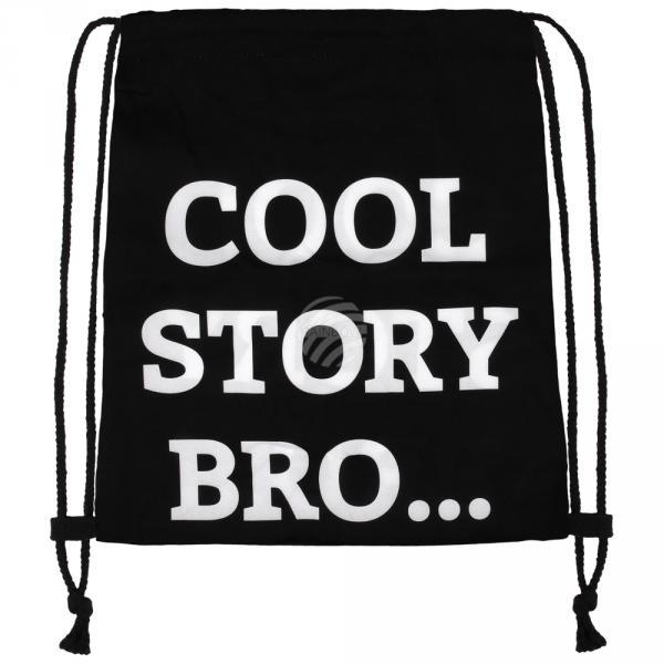 RU-x219 Gymbag Gymsac Design: Cool story bro? Farbe: schwarz weiss