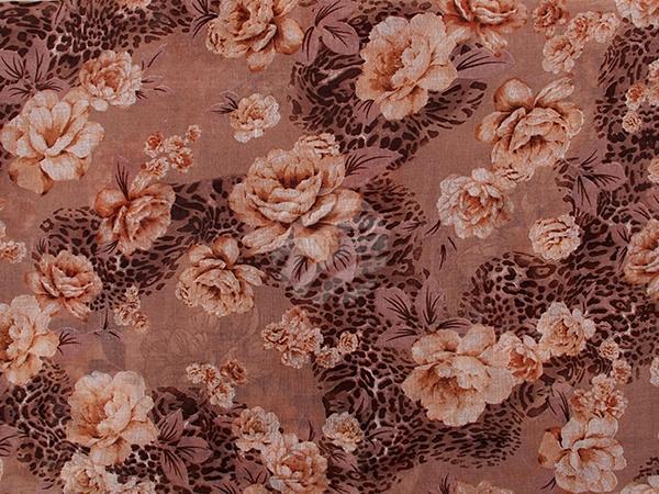 SCH-1192d Damen Loop Schal Blumen braun