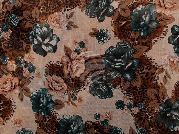 SCH-1192e Damen Loop Schal Blumen cremeweiss
