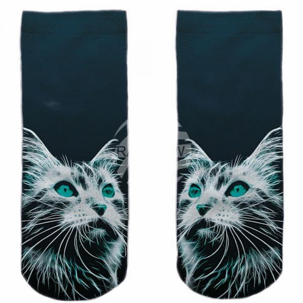 SO-L128 Motiv Socken blau weiß Katze erstaunt