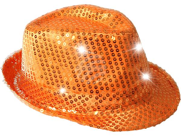 TH-49 LED Trilby Hut orange Motiv: Club Style mit Pailletten