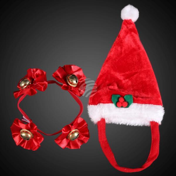 WM-99 Weihnachts-Set für Kuschel- & Haustiere (Mütze & Halsband)