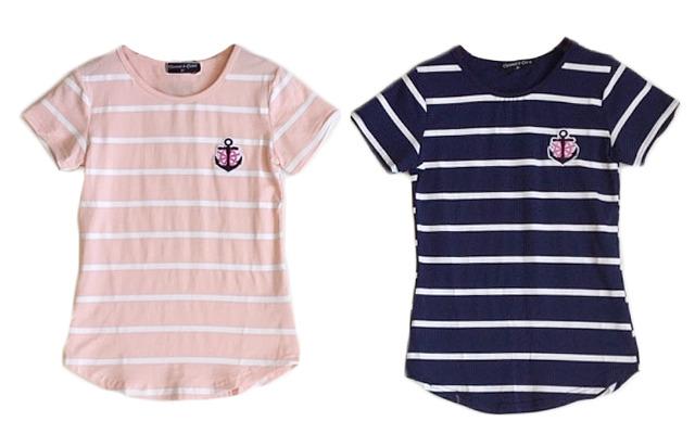 Kinder Mädchen Trend T-Shirt 2-12 Jahre Print Anker Streifen Shirt Longsleeve Shirts Kurzarm Kindershirts Oberteil - 4,90 Euro