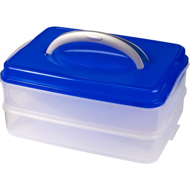 28-152142, Transport-Container, 42 x 30 cm, Partycontainer mit 2 Etagen, auch für Kuchen, Speisen, Picknick, usw
