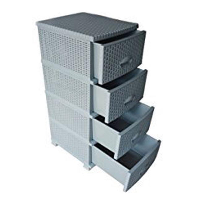 Kommode Rattanoptik mit 4 Schubladen / Boxen Grau