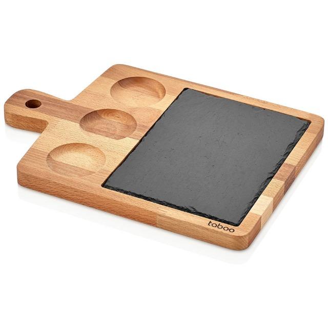 XXL Servierplatte 35 x 25 x 1,8 cm aus Bambus inkl Schieferplatte Gastrokracher