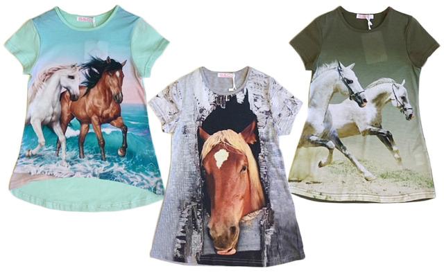Kinder Mädchen Trend T-Shirt Pferd Tunika Oberteil Kindershirts T-Shirts Shirt Kurzarm - 4,90 Euro