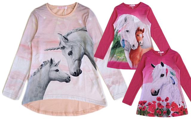 Kinder Mädchen Trend Sweatshirt Pferd Einhorn Shirt Shirts Pullover Oberteil Langarm Kindershirt - 4,90 Euro
