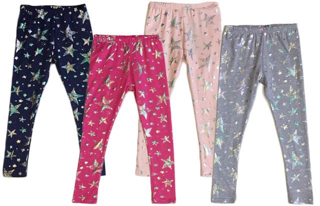 Kinder Kids Mädchen Trend Leggings Holo Sterne Stern Stoffhose Hose Hosen nur 3,90 Euro