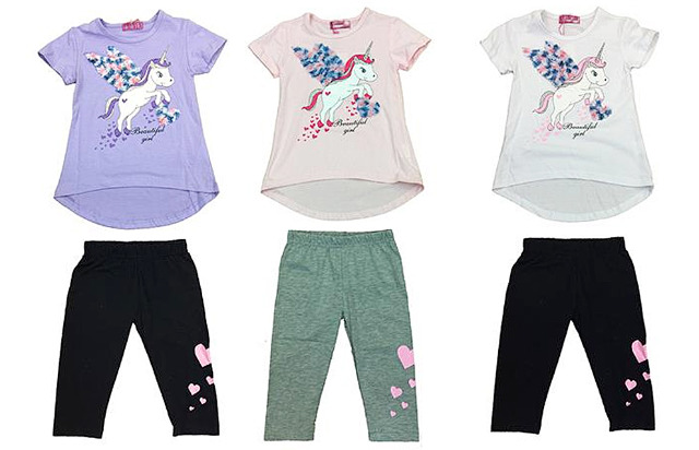 Kinder Mädchen Anzug 2er Set Trend Sommer T-Shirt und Hose Einhorn Unicorn 4-12 Jahre Shirt Shirts Kurzarm Kindershirts Oberteil Stoffhose -