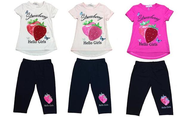 Kinder Mädchen Anzug 2er Set Trend Sommer T-Shirt und Hose Erdbeere 4-12 Jahre Shirt Shirts Kurzarm Kindershirts Oberteil Stoffhose - 7,90 E