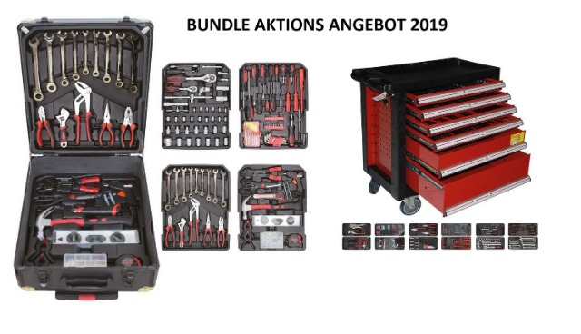 Werkstattwagen 153 teilig und XXL Werkzeugkoffer 190 teilig im Aktions Set 343 Teile in Profi Qualität
