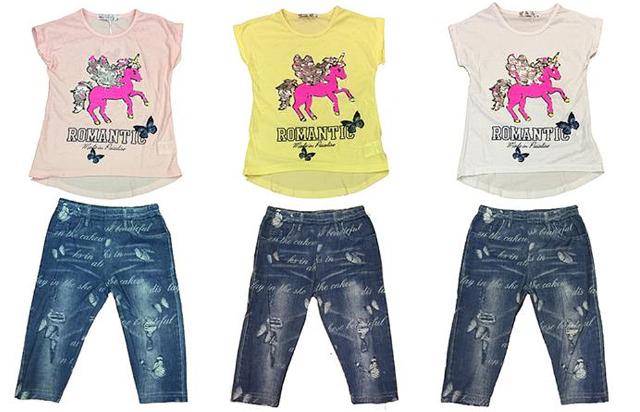 Kinder Mädchen Anzug 2er Set Trend Sommer T-Shirt und Hose Einhorn Unicorn 4-12 Jahre Shirt Shirts Kurzarm Kindershirts Oberteil Jeans - 7,9
