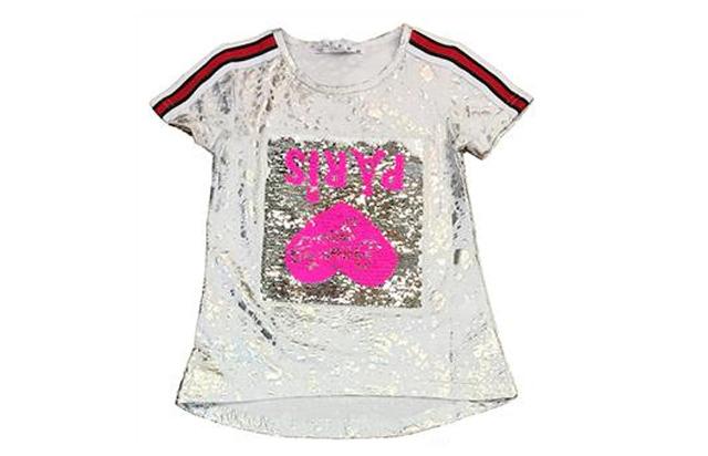 Kinder Mädchen Anzug 2er Set Trend Sommer T-Shirt und Jeans Hose Streifen Wende Pailletten Katze Shirt Shirts Kurzarm Kindershirts Oberteil