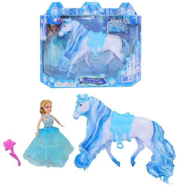 27-50149, Puppe Prinzessin mit Pferd 30 x 26 cm, Spielpuppe, Modepuppe