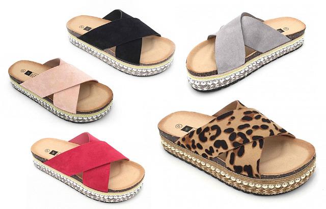 Damen Woman Sommer Trend Slipper Pantolette Sandale Slip on Schuh Shoes Business Freizeit nur 9,90 Euro
