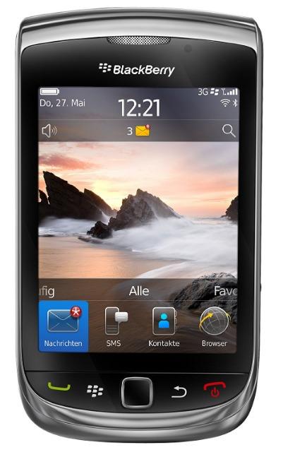 BlackBerry Torch 9800 Smartphone (8,1 cm (3,2 Zoll) Display, Touchscreen, 5 Megapixel Kamera, QWERTZ-Tastatur) schwarz