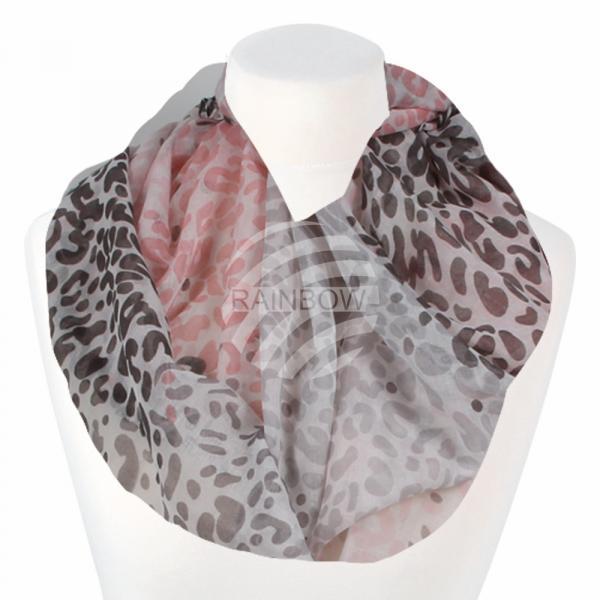 Damen Loopschal Leopardenmuster cremeweiß grau