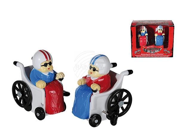 Aufziehbare Kunststoff-Figur, Großmutter im Rollstuhl, ca. 6,5 cm, 2er Set in Fensterbox, 720/PAL