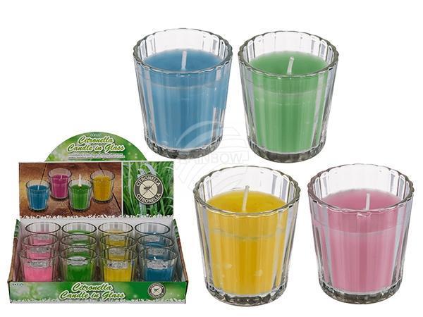 Citronella-Kerze im Glas, ca. 6 x 5,7 cm, 4-farbig sortiert, 12 Stück im Display, 3840/PAL