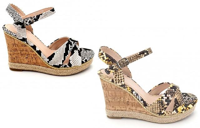 Damen Woman Sommer Trend Plateau Sandalette Schlangen Look Slipper Schuh Shoes Business Freizeit - 11,90 Euro