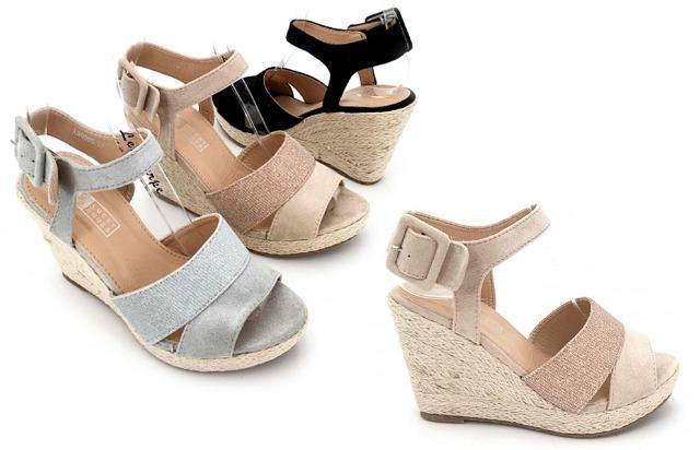 Damen Woman Sommer Trend Plateausandalette Keil Espadrilles Plateau Sandalette Slipper Schuh Shoes Business Freizeit - 11,90 Euro