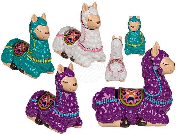 Keramik-Spardose, Lama mit Satteldecke & Geschirr, ca.14 cm, 3-farbig sortiert