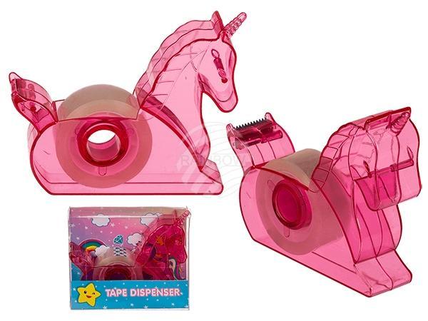 Kunststoff-Abroller mit Klebeband, Einhorn, in PVC-Box
