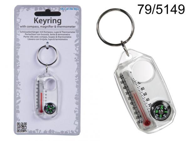 Metall-Schlüsselanhänger mit Kunststoff-Kompass, Lupe & Thermometer, ca. 5,5 cm, auf Headercard, 5760/PAL