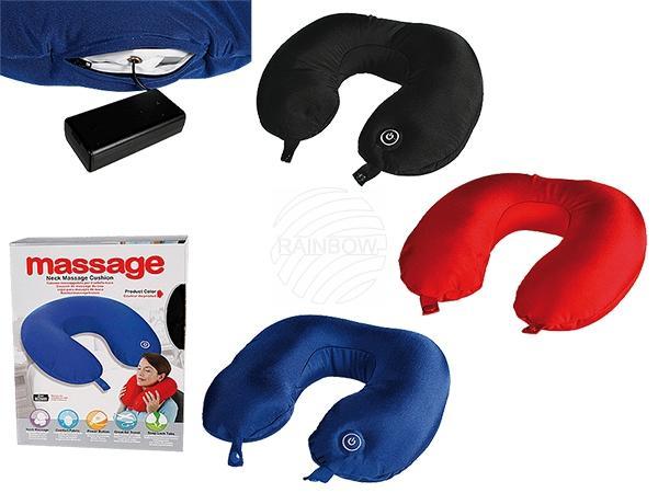 Nacken-Massagegerät, 100% Polyester, ca. 31 x 30 cm,3-farbig sortiert, für 2 Mignon Batterien (AA), 120/PAL