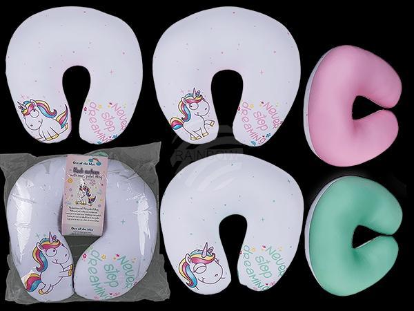 Nackenkissen mit Micropellet-Füllung, Comic Einhorn, 85% Polyester & 15% Elastan, ca. 30 x 30 cm, 4-fach sortiert, mit Banderole zum Aufh