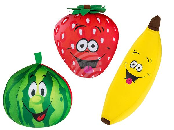 Nackenkissen mit Micropellet-Füllung, Comic Fruit, 85% Polyester & 15% Elastan, ca. 43 x 20 cm, 3-fach sortiert, 192/PAL