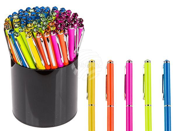 Neonfarbener Metall-Kugelschreiber mit Swarovski-Stein, 5-farbig sortiert, 72 Stück mit Stifthalterdisplay, 41472/PAL