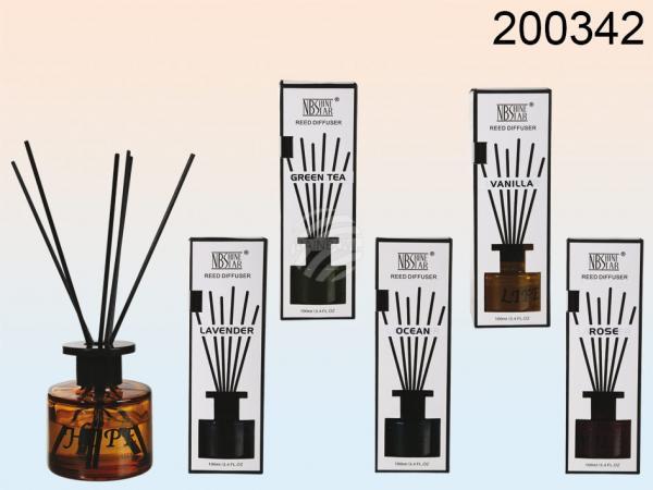 Raumduft, 100 ml, Home (Rose, Lavender, Ocean, Vanilla, Green Tea, Lemongras sortiert) mit 6 Holzstäbchen, in Geschenkpackung, 720/PAL