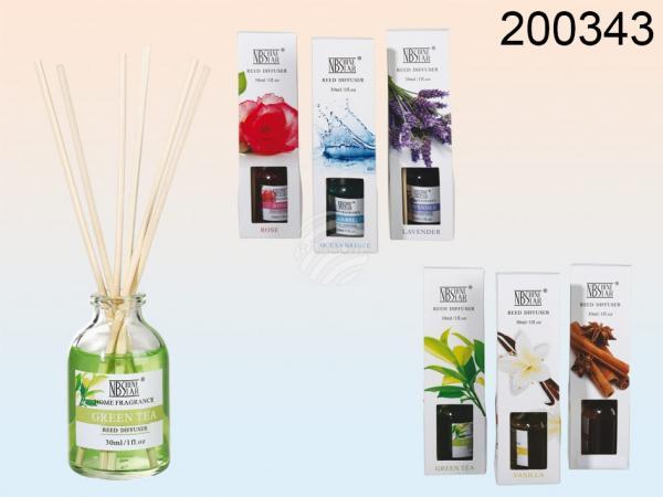 Raumduft, 30 ml (Rose, Lavender, Ocean, Vanilla, Green Tea, Lemongras sortiert) mit 6 Holzstäbchen, in Geschenkpackung, 24 Stück im Displ
