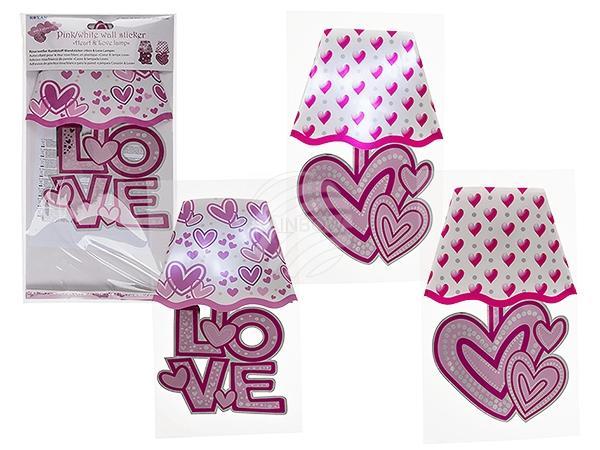Rosa/weißer Kunststoff-Wandsticker, Herz-& Love-Lampe sortiert, mit 3 weißen LED (inkl. Batterie) ca. 30 x 18,5 cm, im Polybeutel mit Hea