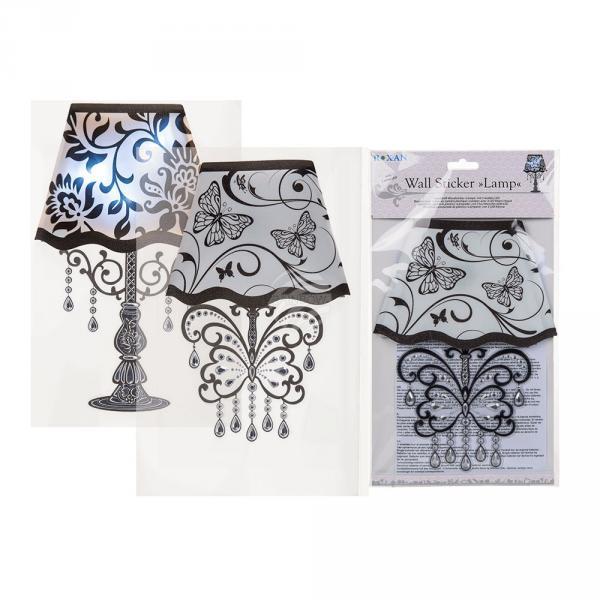 Schwarz/weißer Kunststoff-Wandsticker, Lampe, mit 3 weißen LED (inkl. Batterie) ca. 30 x 18,5 cm, 2-fach sortiert, im Polybeutel mit Head