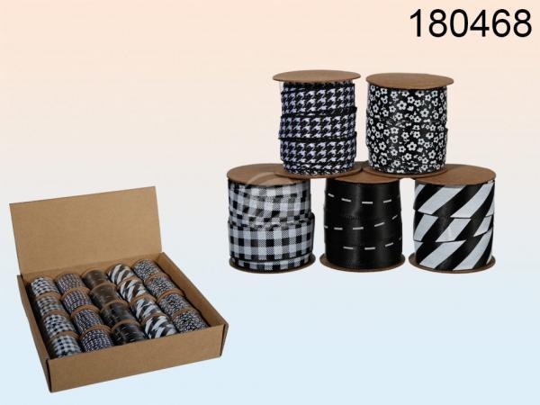 Schwarz/weißes Schleifenband, ca. 10 mm x 3 m, 5-fach sortiert, 20 Rollen im Aufsteller, 9600/PAL