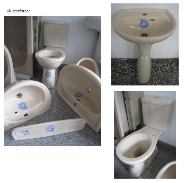 5-teiliges KERAMAG Bad-Set in Creme-Farbe Waschbecken+Kombi-WC+Spülkasten+Ablage+Standsäule