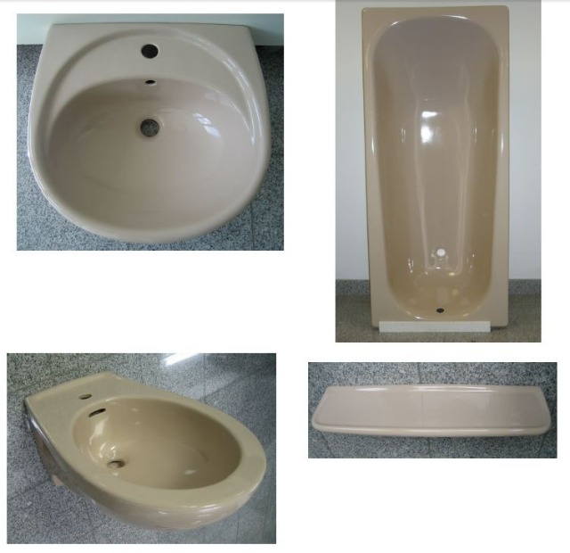 BATHROOM-SET in Beige incl. bath + washbasin + bidet + shelf