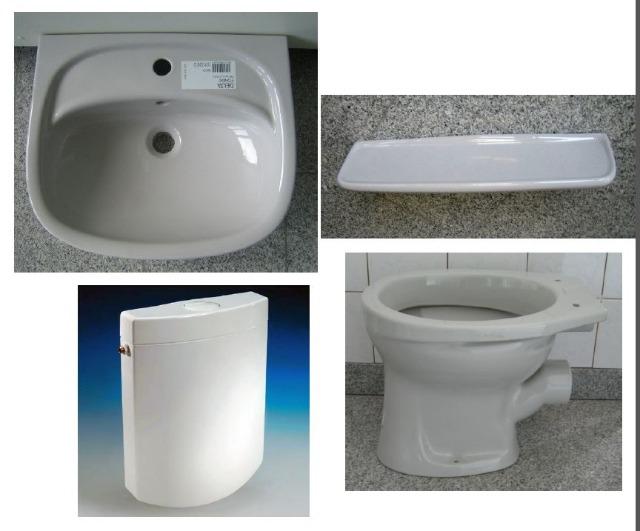 BATHROOM-SET in gray incl. washbasin + WC + tank + shelf
