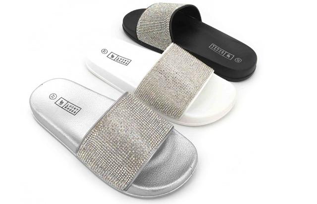 Damen Woman Sommer Trend Slipper Strandschuh Badeschlappen Sandale Slip on Schuh Shoes Sommer Freizeit Business - 6,90 Euro