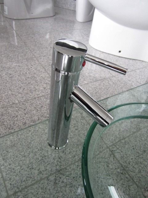 Luxurious designer washbasin sets of glass with accessories and fittings
