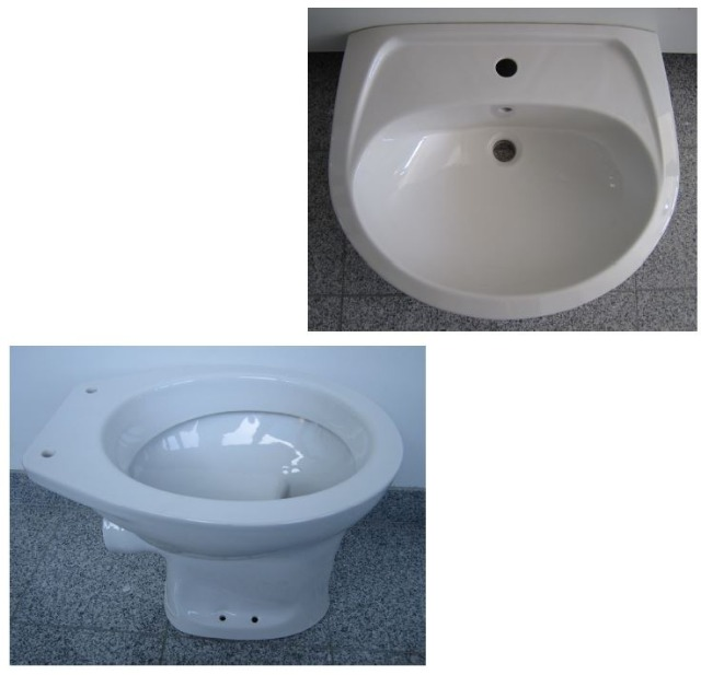 Sonderposten Marken BAD-SET Waschbecken 60cm + WC in Weiss