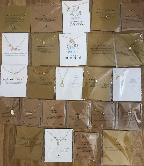 Halskette mit Geschenkkarte Gemischte Muster - Elephant, Infinity, Stern, Herz, Perle, Flüge, Blume, Davidstern,Fatimas hand, Muschel, Anker