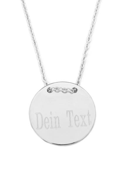 Halskette MIT GRAVUR Anhänger - Gravurplatte Münze Rund Scheibe, 2 cm, Silber Farbe
