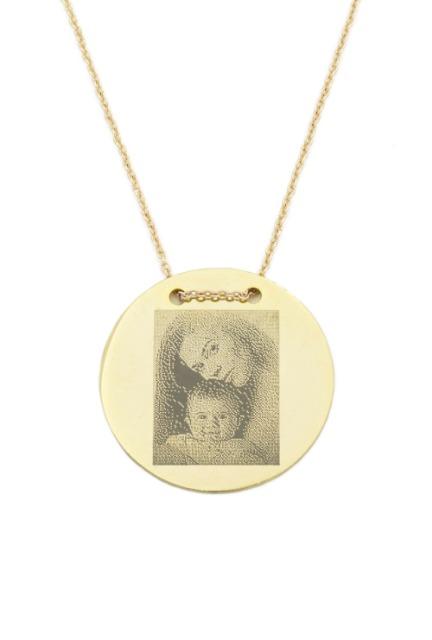 Halskette Mit Gravur 'Foto' Gravurplatte 2,5 cm Münze Rund, Gold Farbe